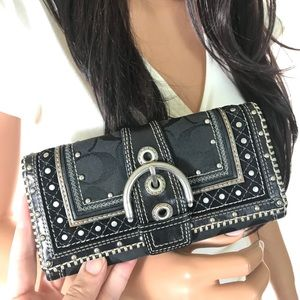 Coach Black Signature Studded Soho Wallet RARE!